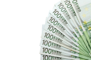 100 Euro banknotes isolated close-up