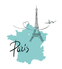 Hand drawn illustration with Eiffel tower. Paris