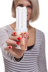 Woman holding an eco-friendly light bulb