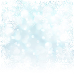 Blue Christmas background with snowflakes and with white frame.