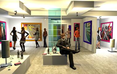 Mostra d'arte, illustrazione 3d