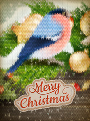 Christmas label on a knitted Bullfinch. EPS 10
