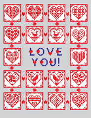 Love ornament greeting card in ethnic style
