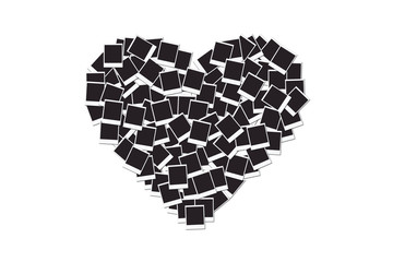 Heart made with blank instant photo frames, isolated on white background