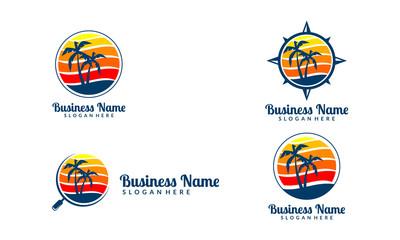 sun, palm, landscape, compass, magnifier, travel, tour, vector logo design 7