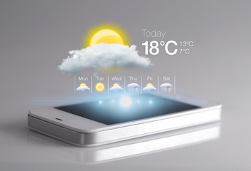 Fototapeta Smartphone with weather icon on light grey background.