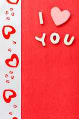 I love you text on red background, valentine day decoration, love concept