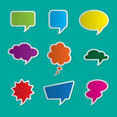 Nine dialog boxes on blue background