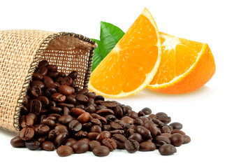 coffee grains and orange