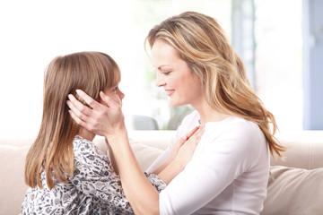 Loving mother-daughter relationship