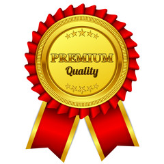 Premium Quality Red Seal, Label Vector Icon