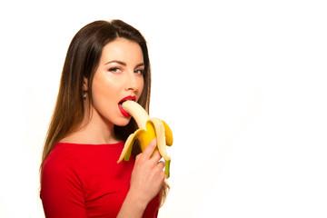Sexy girl with banana