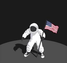 flat illustration of the moon landing