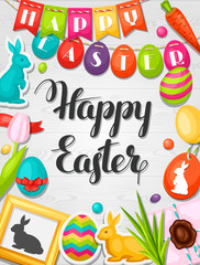 Happy Easter greeting card with decorative objects, eggs, bunnies stickers. Concept can be used for holiday invitations and posters