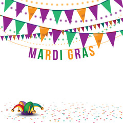 Mardi Gras bunting and jesters hat background EPS 10 vector royalty free stock illustration for greeting card, ad, promotion, poster, flier, blog, article, social media, marketing