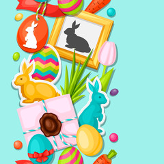 Happy Easter seamless pattern with decorative objects, eggs, bunnies stickers. Background can be used for holiday prints, textiles and greeting cards