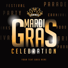 Gold type Mardi Gras background royalty free stock illustration