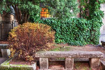 Stone bench.