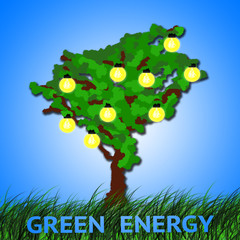 Green energy concept. Tree with light bulbs fruits