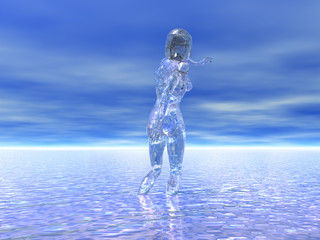 rendered illustration of a transparent female figure reflected in water under a surreal sky