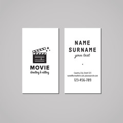 Film, movie and video business card design concept. Film, movie and video logo with clapper board. Vintage, hipster and retro style. Black and white.
