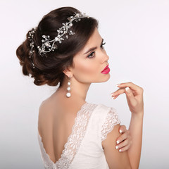 Beauty woman portrait. Wedding Hairstyle. Beautiful fashion brid
