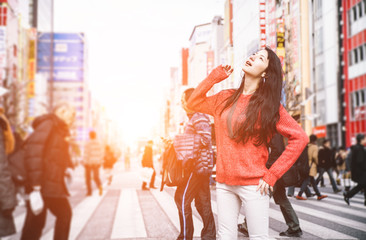 Japanese girl in tokyo exploring the city