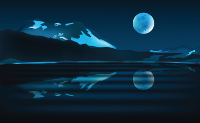 Night landscape scene with mountains, lake and moon