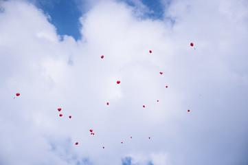 Herzluftballons im Himmel 1