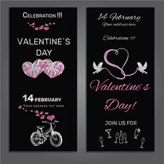 set invitation for Valentines day on chalk board background
