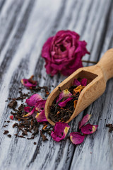 Dried tea with rose petals