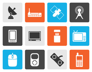 Flat technology and Communications icons - vector icon set