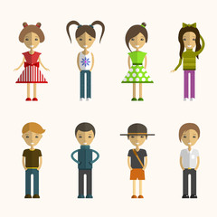 Vector set of people cartoon characters in flat style. Design elements, avatars. Different nationalities and styles.