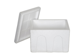 Open Styrofoam box / Open Styrofoam box on white background.