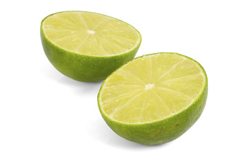 Two halves of lime / Two halves of lime on white background.