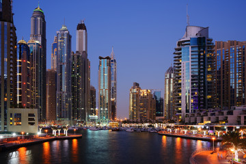 Papiers peints Cote Skyscrapers of Dubai Marina at twilight