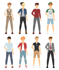 Beautiful vector cartoon fashion boy models look standing over white background