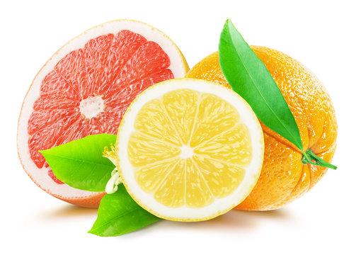 grapefruit, lemon and orange isolated on the white background