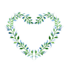 Watercolor floral wreath in the shape of heart.
