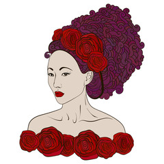 Beautiful fashion asian women with abstract hair and floral design elements.