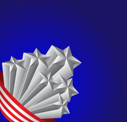 American flag and silver stars, patriotic vector illustration