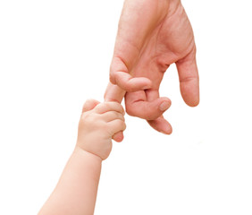 children's hand holds the hand of the father isolated
