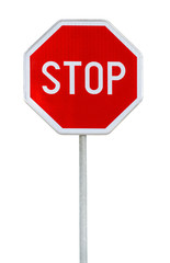 Red realistic stop road sign on rod isolated on white