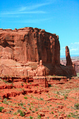 The Park Avenue Courthouse Spectacle - Entrada Sandstone carved for millions of years of weathering result in fantastic shapes in Arches National Park Moab Utah, USA.