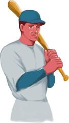Vintage Baseball Player Bat Watercolor