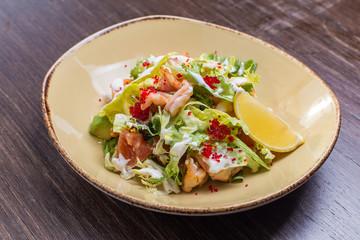 salad with shrimp and caviar