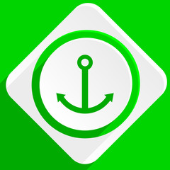 anchor green flat icon