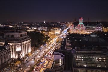 Panoramic aerial view of Madrid, Spain at night.
