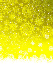 Abstract yellow winter with snowflakes. EPS 8