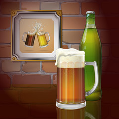 Beer mug, bottle, brick wall. Two mugs of beer in the frame. Vector